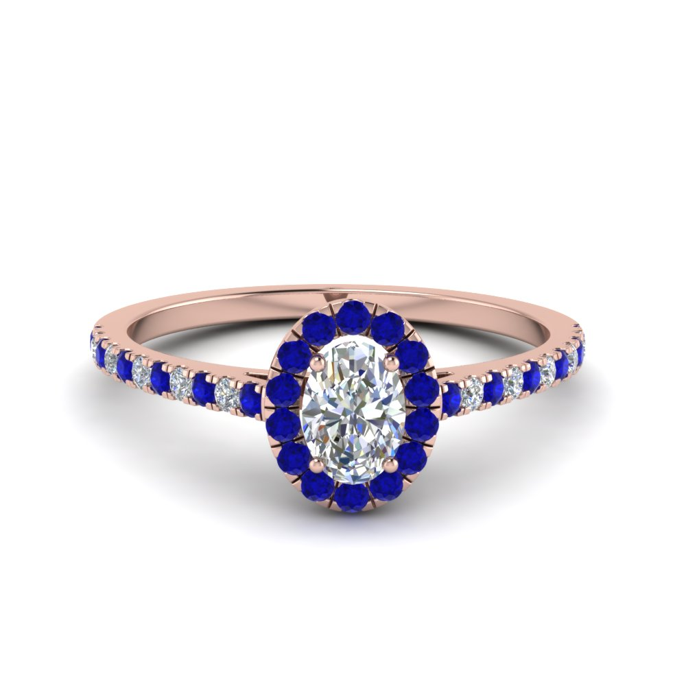Oval Shaped Sapphire Halo Ring