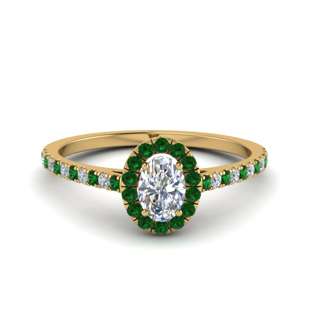 Oval Emerald Gold Diamond Engagement Ring