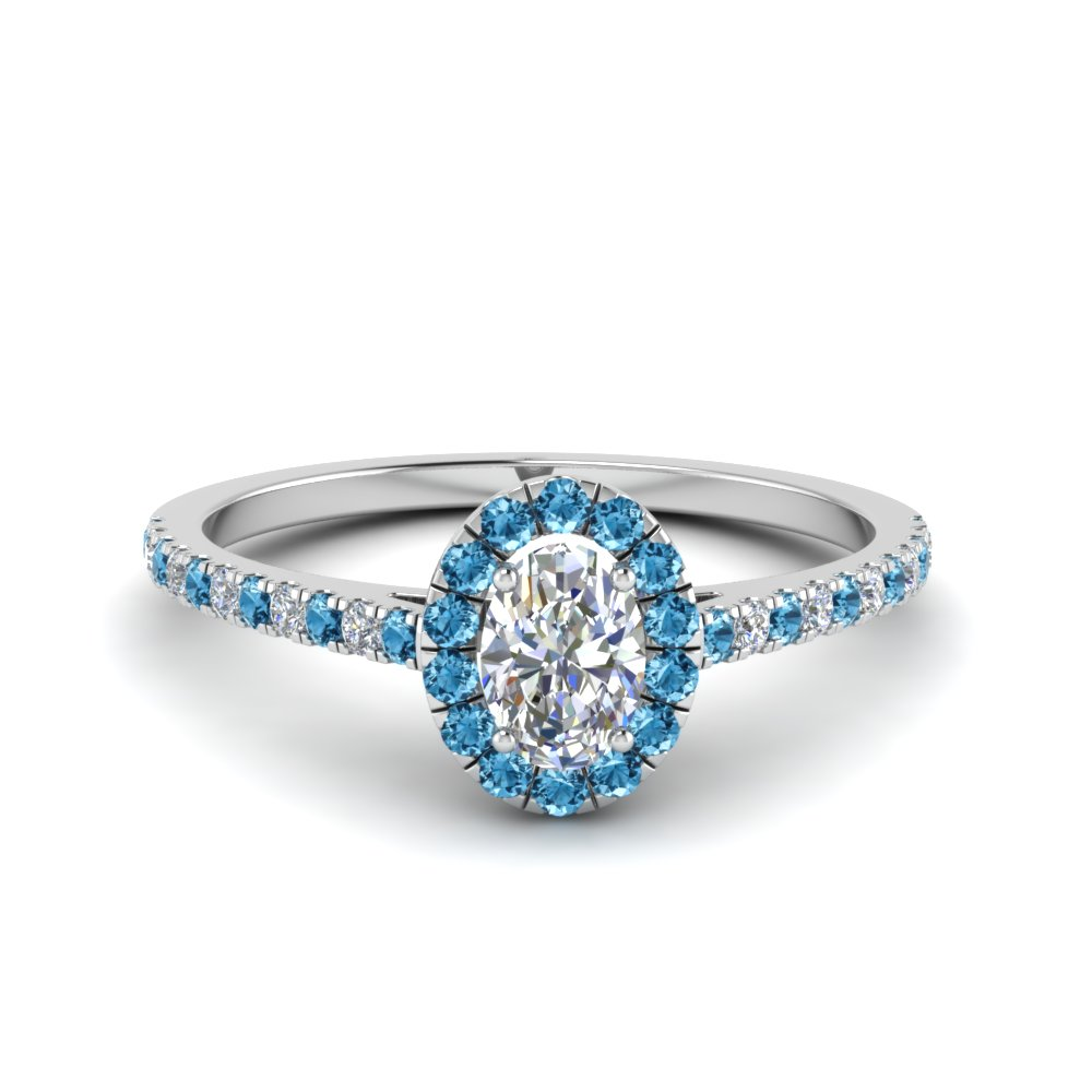 french pave oval shaped diamond halo engagement ring with ice blue topaz in FD8163OVRGICBLTO NL WG