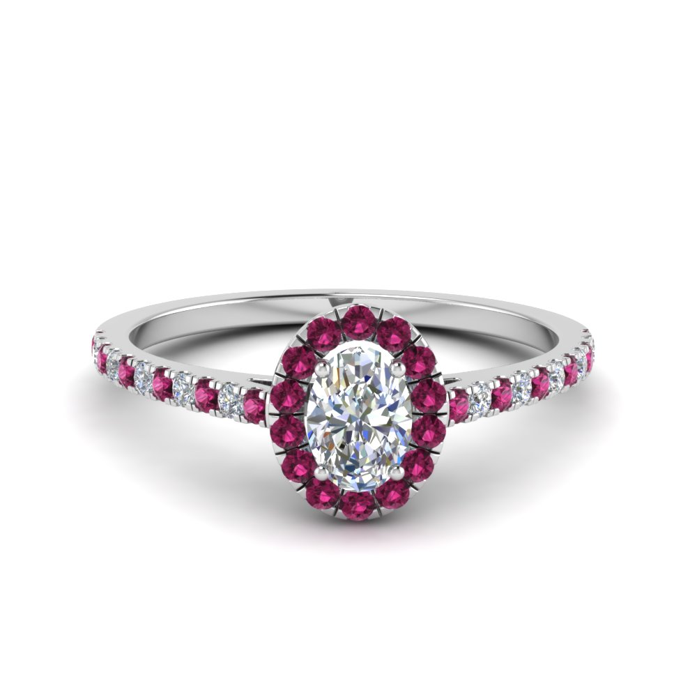 french pave oval shaped moissanite halo engagement ring with pink sapphire in 14K white gold FD8163OVRGSADRPI NL WG