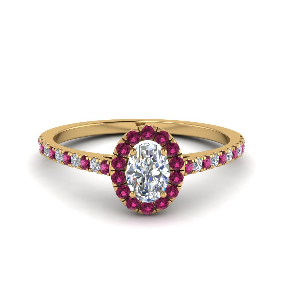 Halo Ring With Pink Sapphire