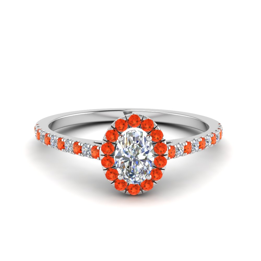 Platinum Orange Topaz Halo Ring