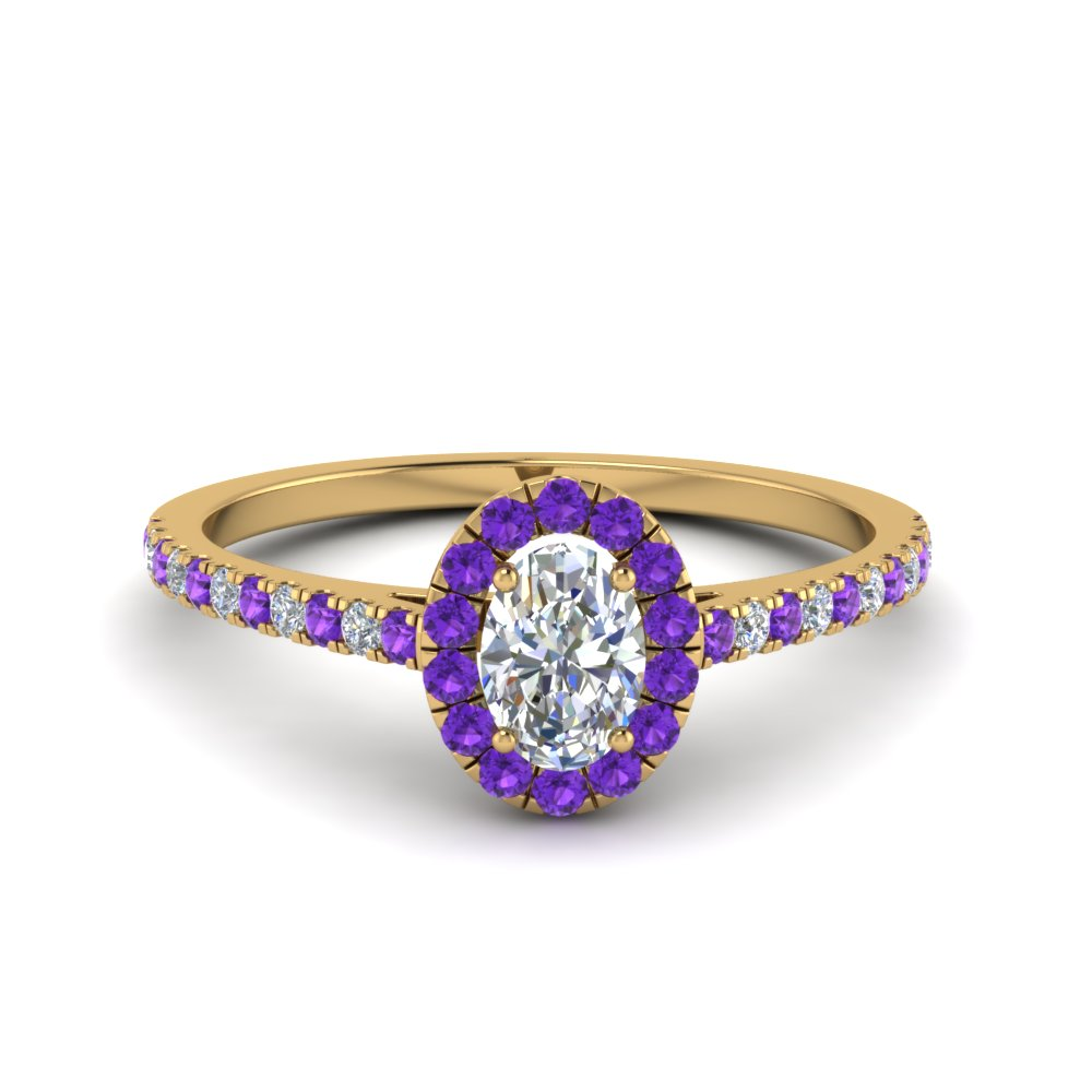 Purple Topaz Halo Ring In 14K Gold