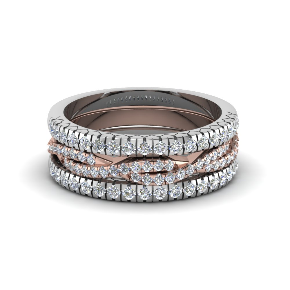 french pave rope stackable band in 950 Platinum FD8332B NL WG TT