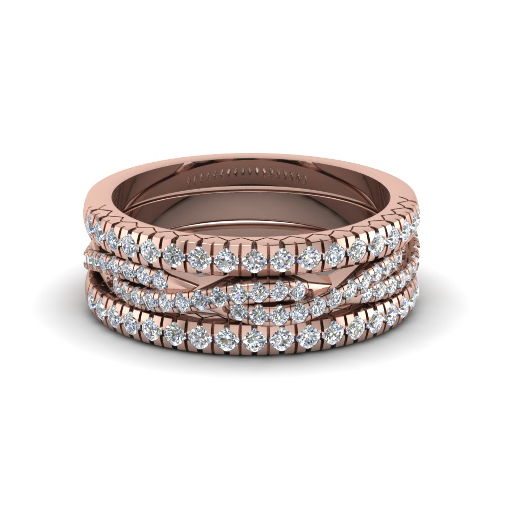 french pave trio diamond stack band in FD8332B NL RG