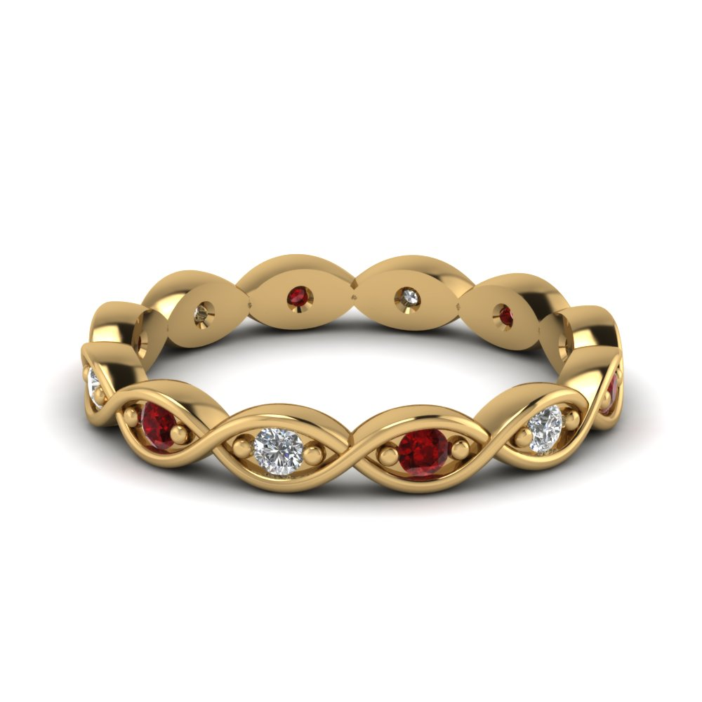 infinity eternity diamond wedding band with ruby in FDEWB345BGRUDR NL YG