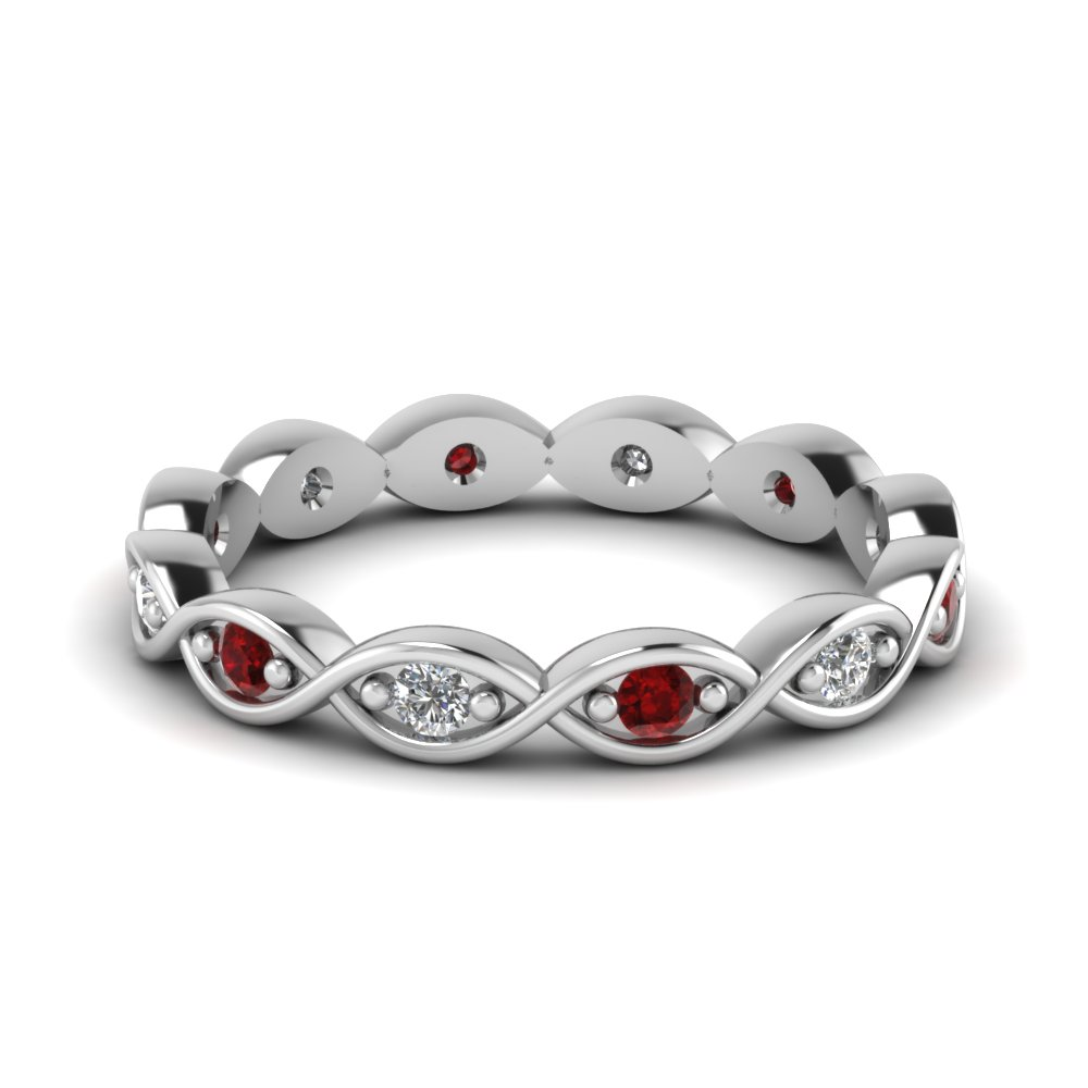 infinity eternity diamond wedding band with ruby in FDEWB345BGRUDR NL WG