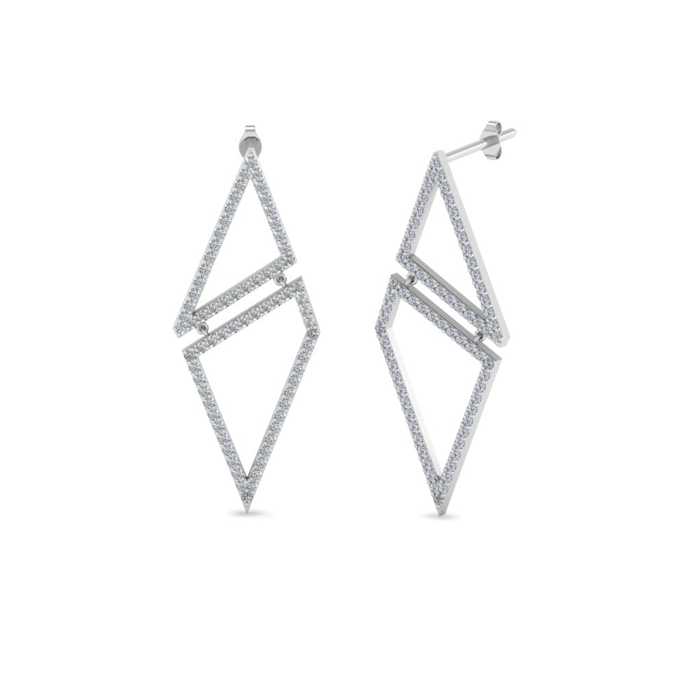 geometric diamond drop earring in FDEAR8558 NL WG