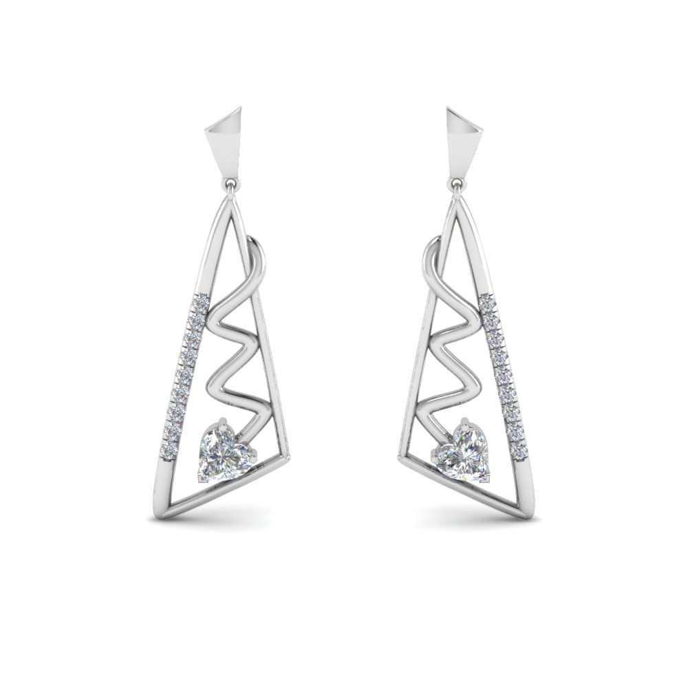 geometric diamond drop earring in 14K white gold FDEAR8840 NL WG