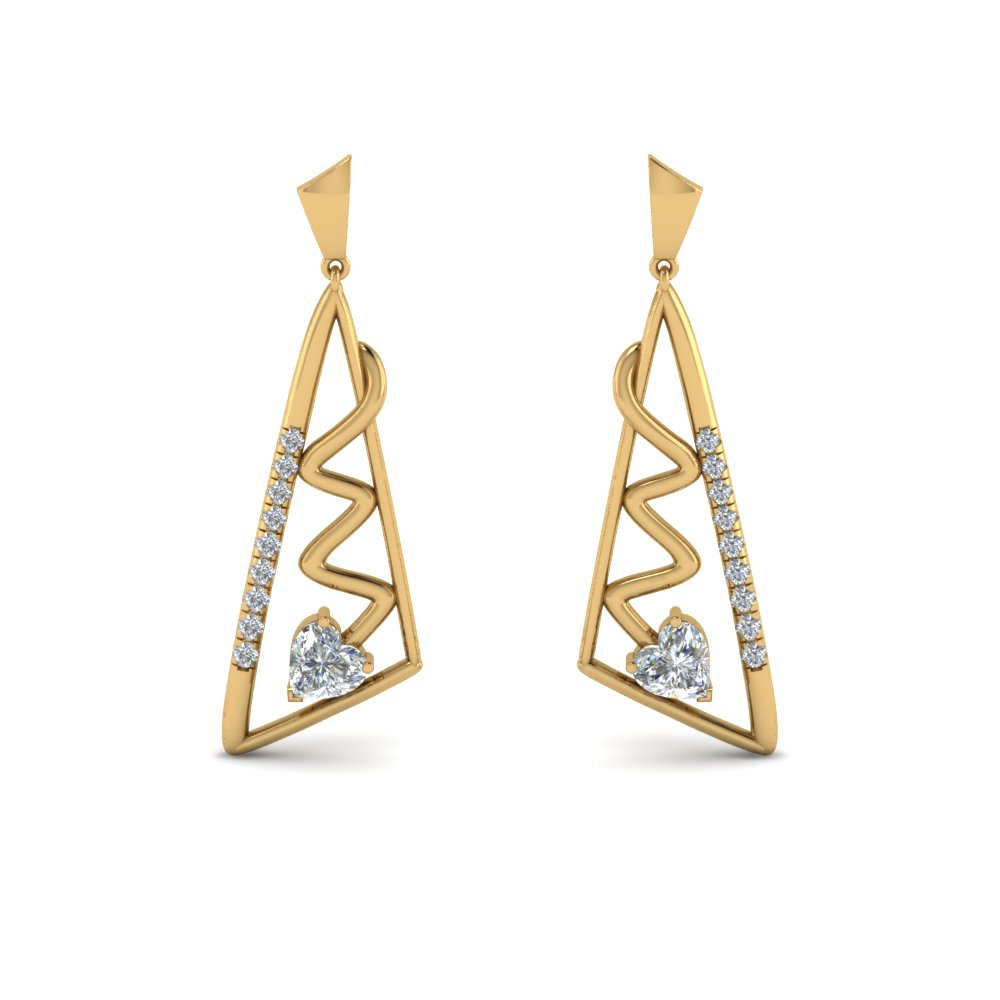 geometric diamond drop earring in 14K yellow gold FDEAR8840 NL YG