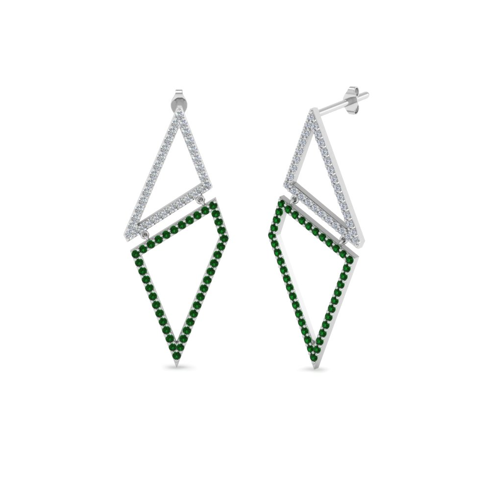 f8183ac55 geometric diamond drop earring with emerald in FDEAR8558GEMGR NL WG