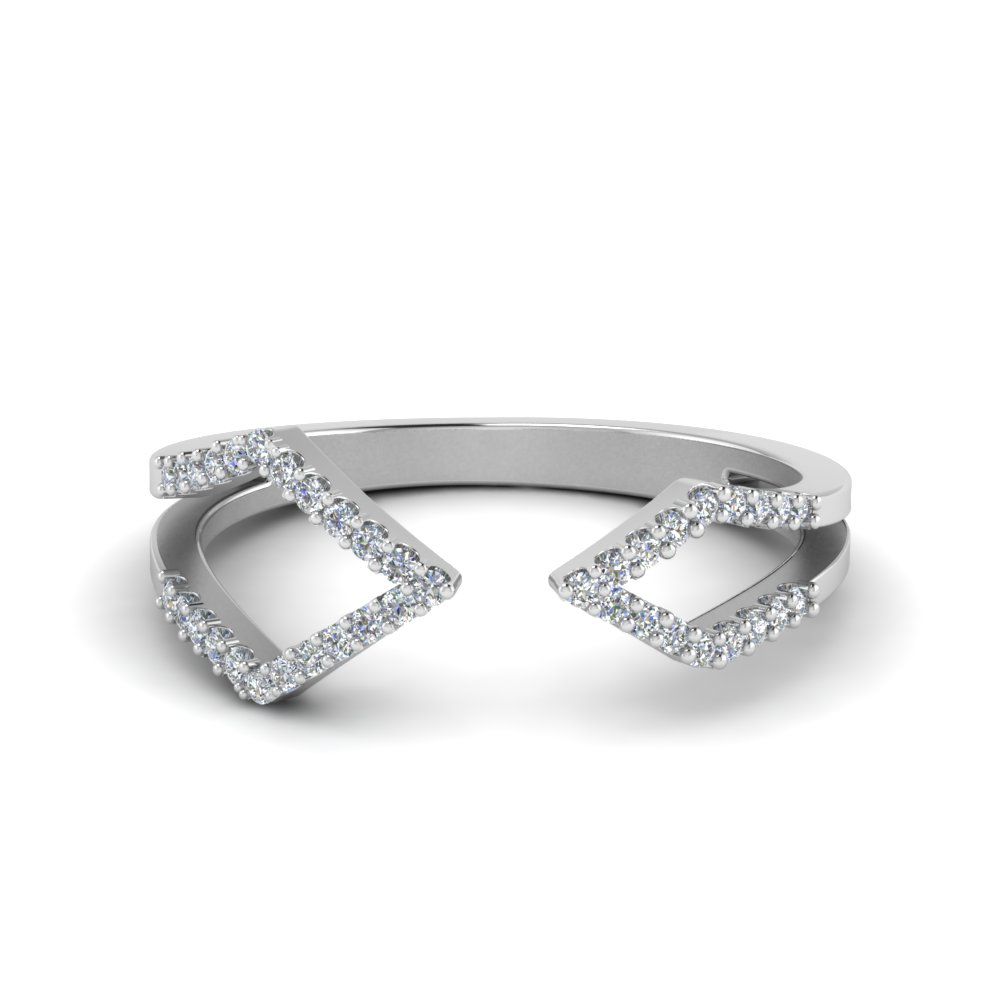 Geometric Diamond Open Ring U Prong