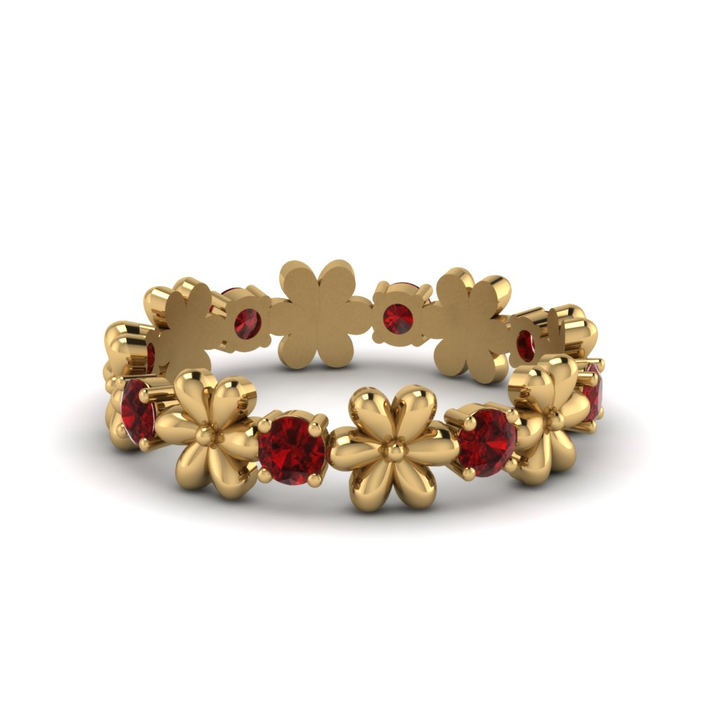 gold and gemstone flower engagement ring with ruby in 14K yellow gold FD8299RGRUDR NL YG GS