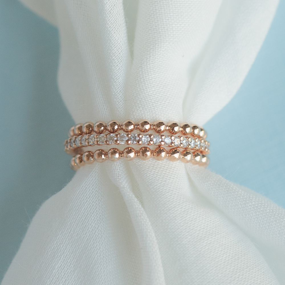 18K Rose Gold Stackable Rings