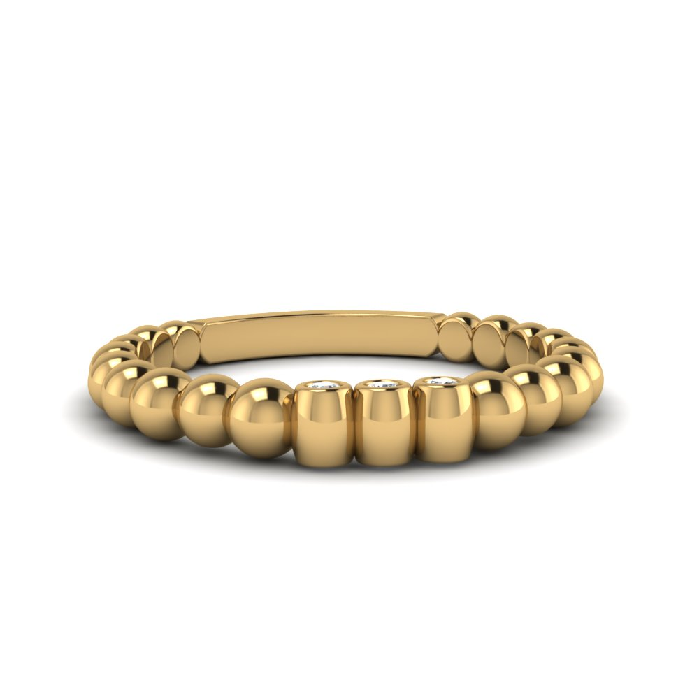Gold Bead Stack Diamond Band