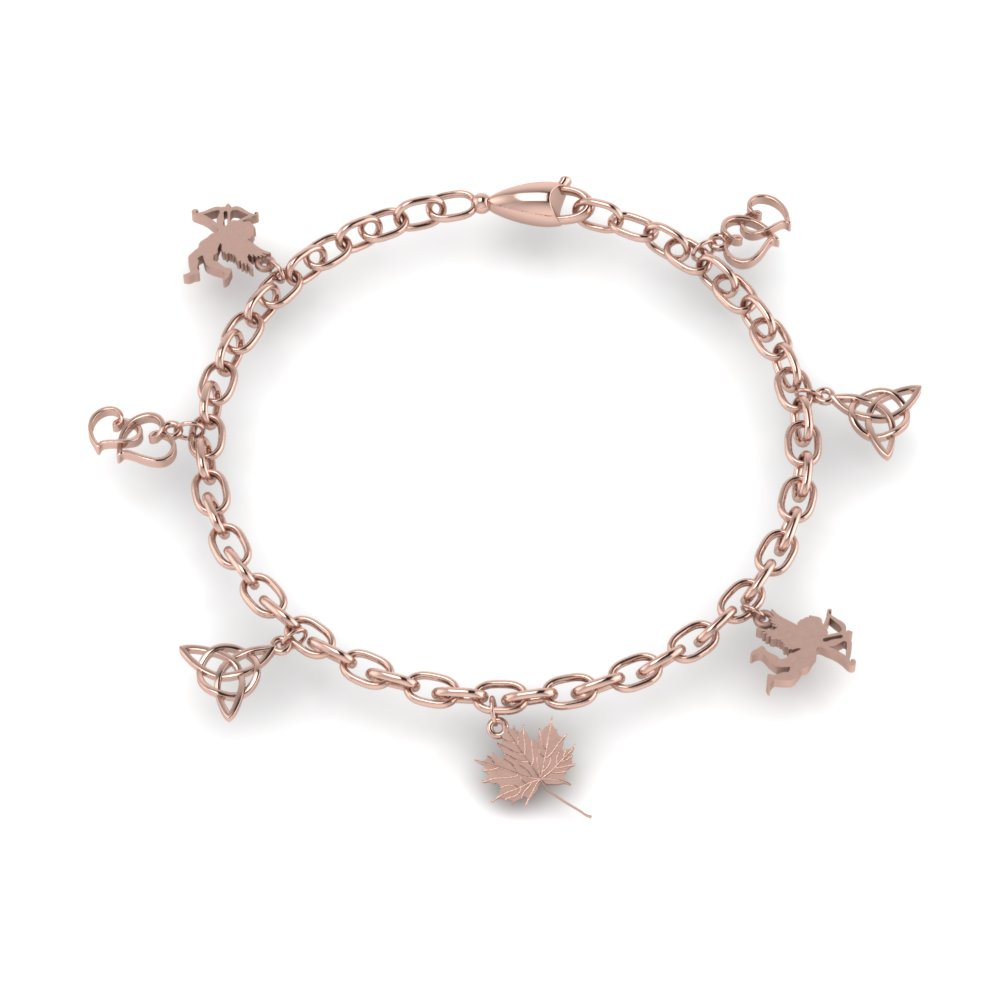 love symbol charm bracelet for girls in FDBRC8658ANGLE2 NL RG