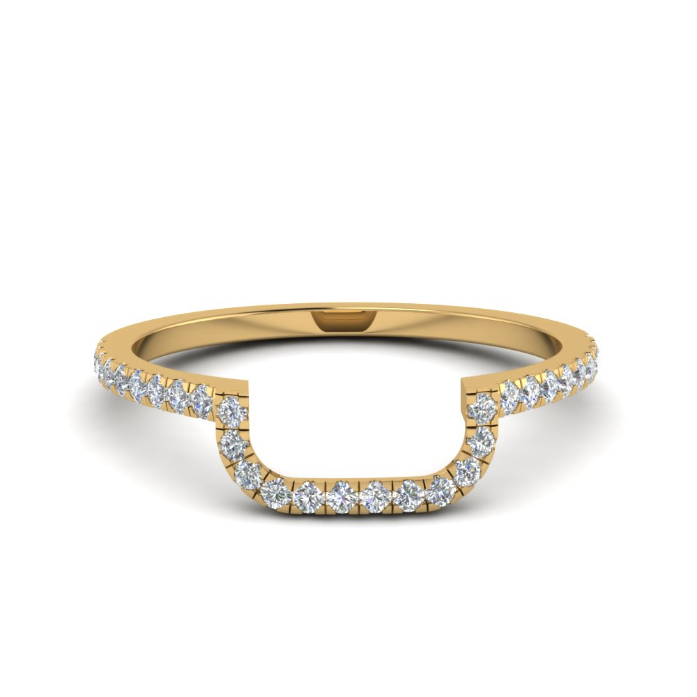 gold curved diamond band in FD8187B NL YG