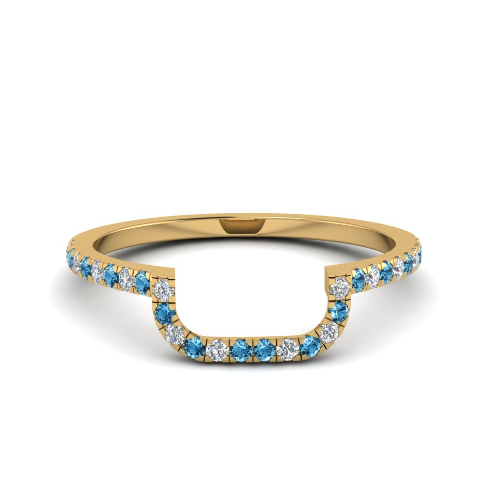 curved diamond wedding band with blue topaz in 14K yellow gold FD8187BGICBLTO NL YG
