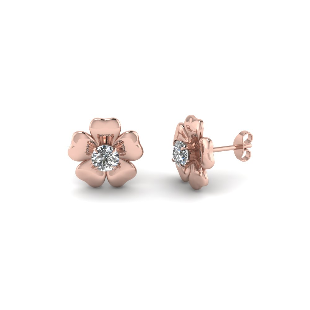 Flower Diamond 14k Rose Gold Stud Earrings
