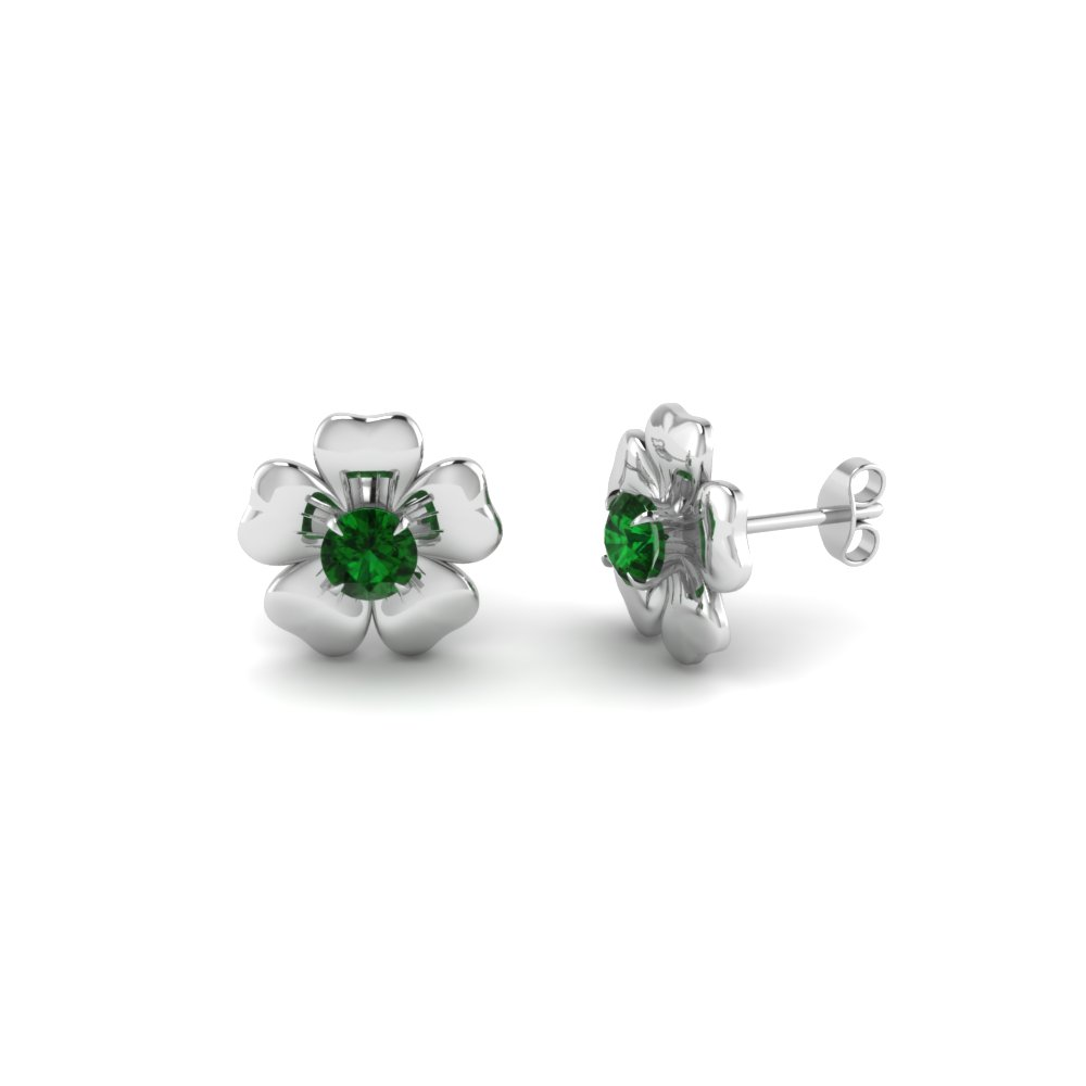 champagne jewelry rosette em in anna sheffield emerald earrings yellow stud products diamond yg tiny green diamonds gold