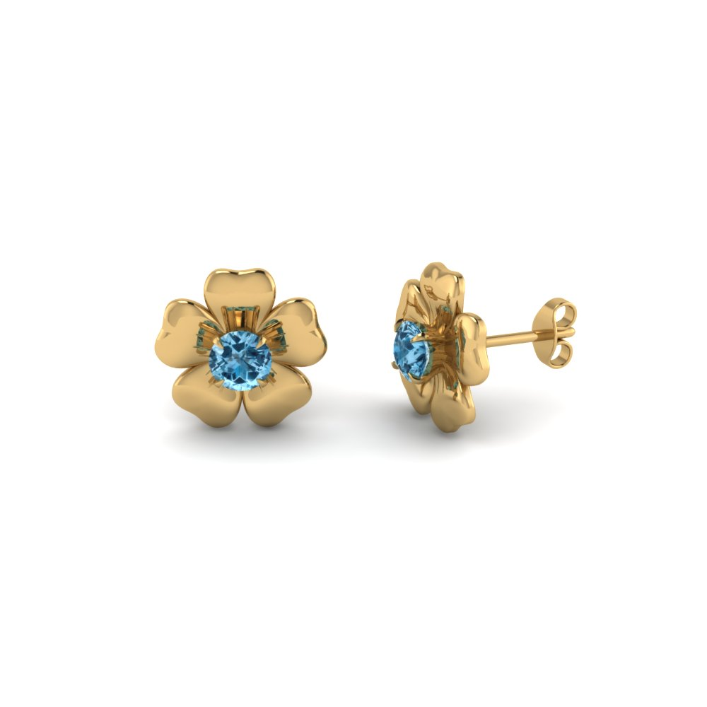 Genuine Topaz Yellow Gold Stud Earring
