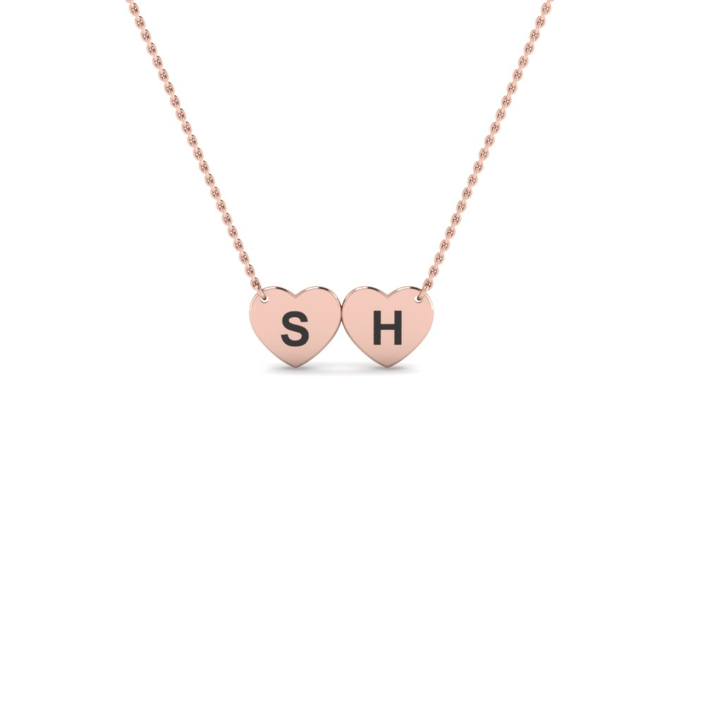 gold engraved double heart pendant necklace in 14K rose gold FDPD86386 NL RG