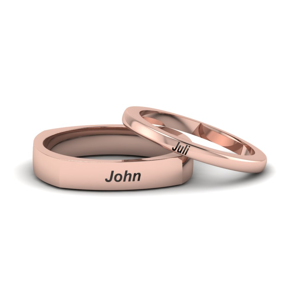 Personalized Engraved Matching Wedding Bands For Couples