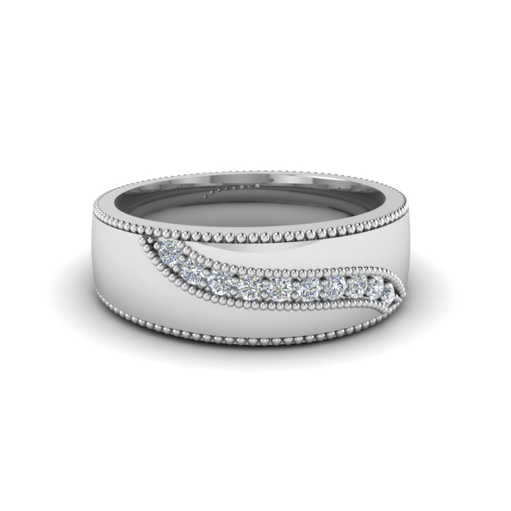 Mens Engagement Rings With White Diamond In 18k White Gold