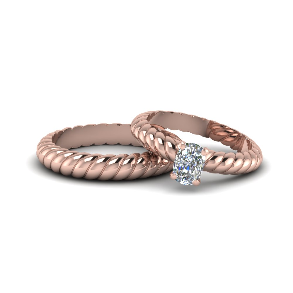 gold rope cushion cut diamond matching band for bride and groom in 14K rose gold FD8175B NL RG