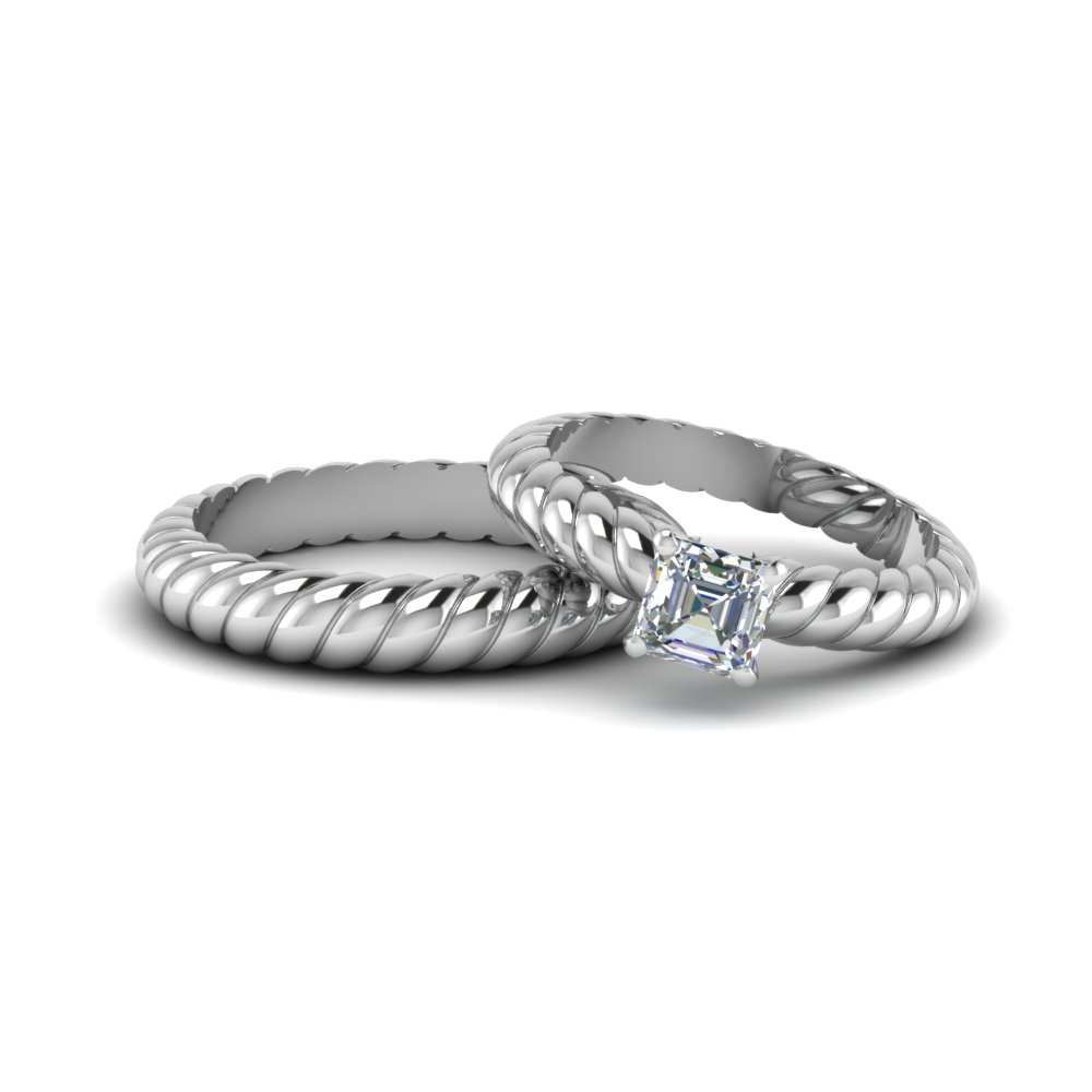 gold rope style asscher cut diamond his and hers matching sets in 14K white gold FD8174B NL WG