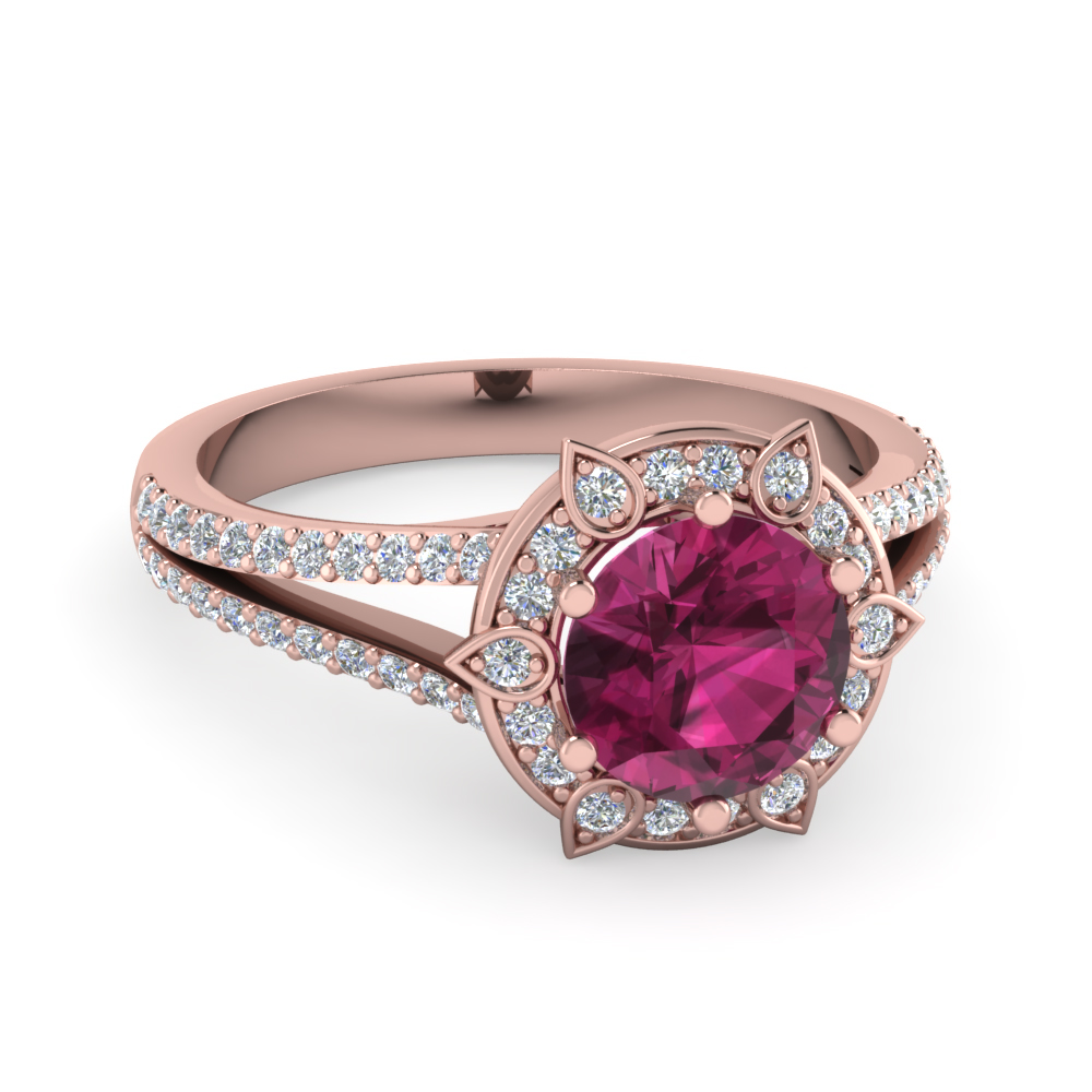 Gorgeous Pink Sapphire And Diamond Halo Split Engagement Ring In 14K Rose Gol