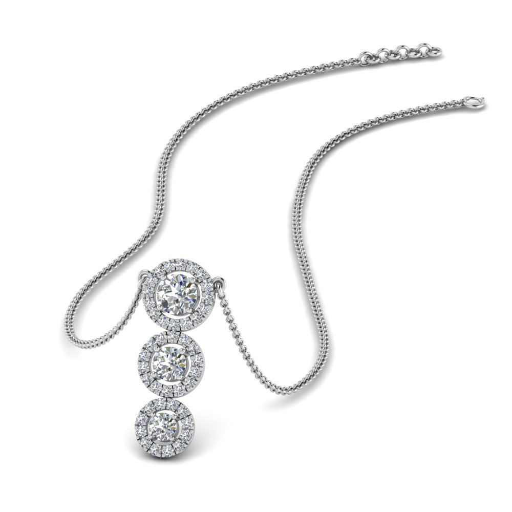 graduated 3 diamond halo necklace in FDPD8965 NL WG