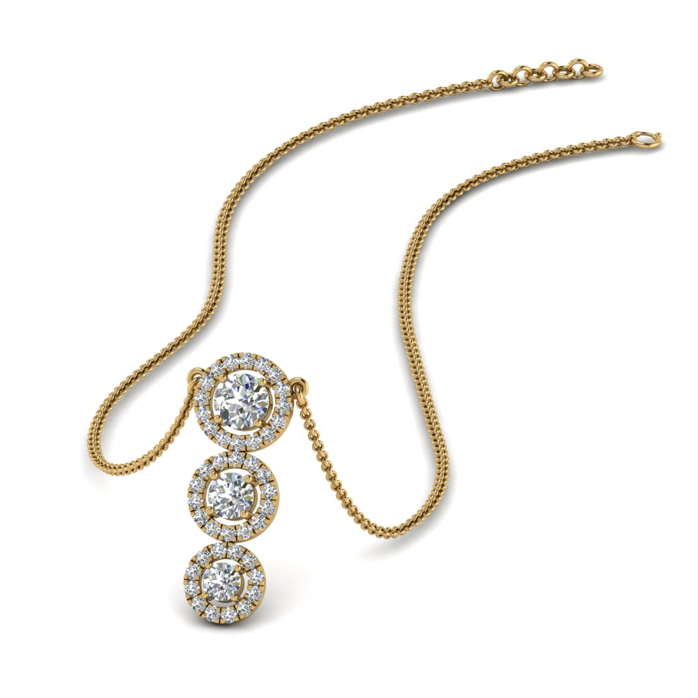 3 Diamond Halo Graduated Necklace