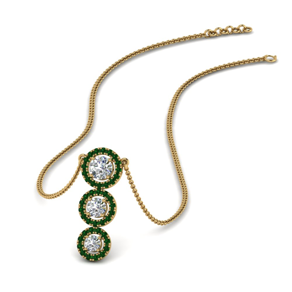 graduated 3 diamond halo necklace with emerald in FDPD8965GEMGR NL YG