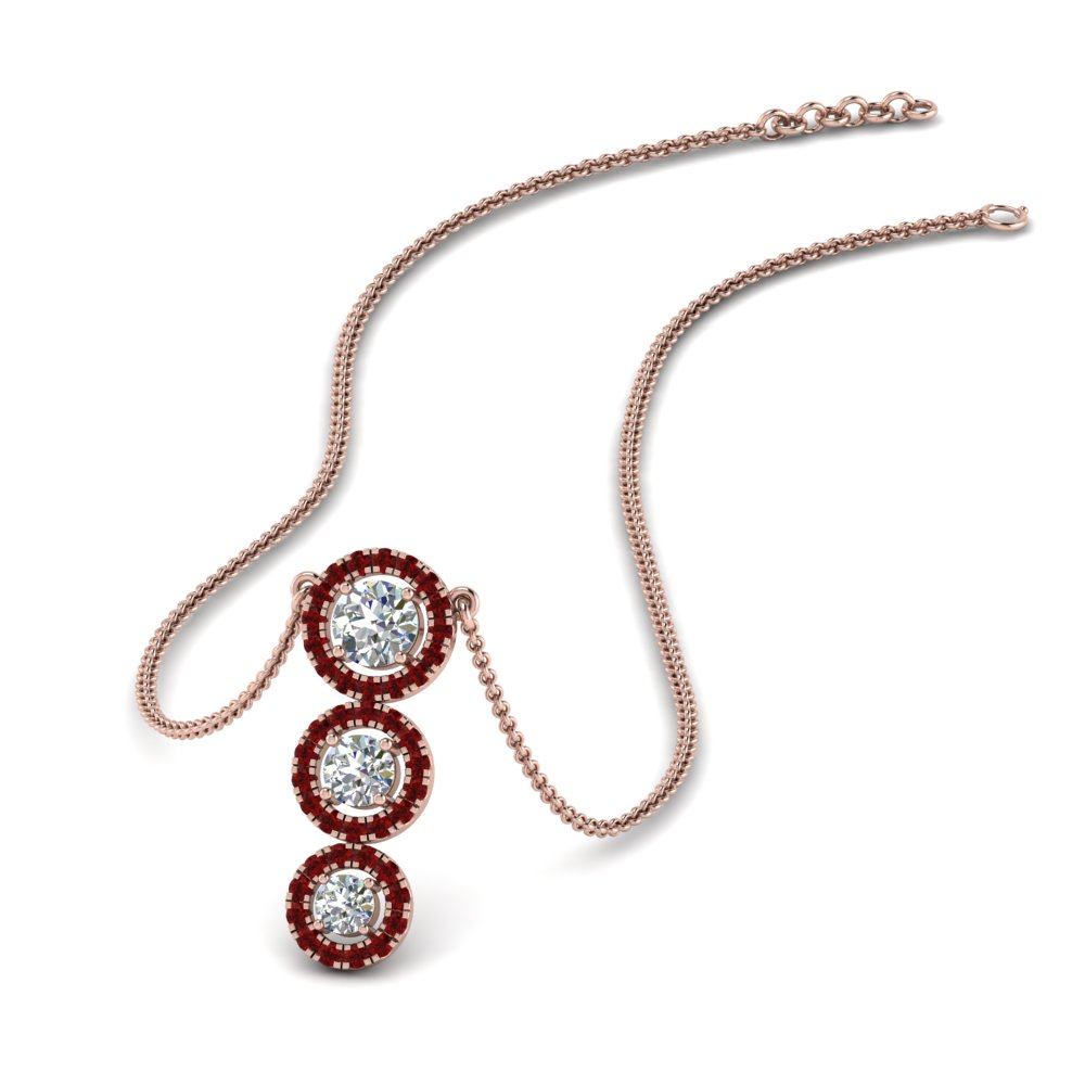 graduated 3 diamond halo necklace with ruby in FDPD8965GRUDR NL RG