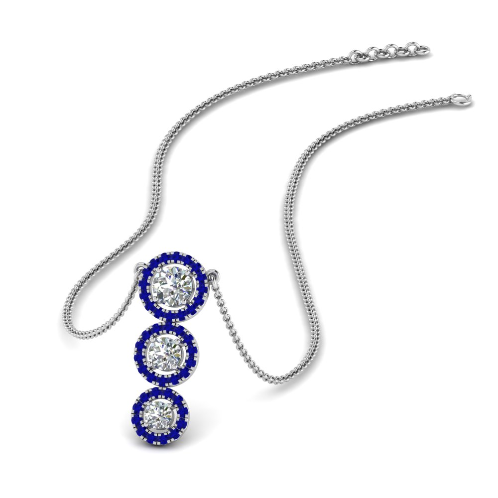 graduated 3 diamond halo necklace with sapphire in FDPD8965GSABL NL WG