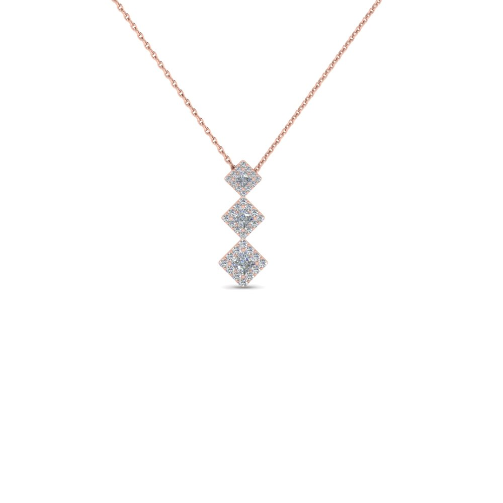 Graduated Princess Cut Drop Pendant