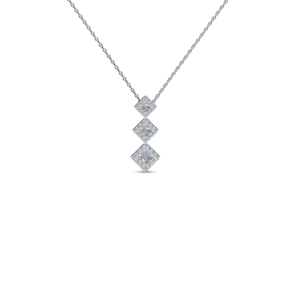 b224e89cb711c graduated 3 princess cut diamond drop necklace pendant in 18K white gold  FDPD2317 NL WG GS