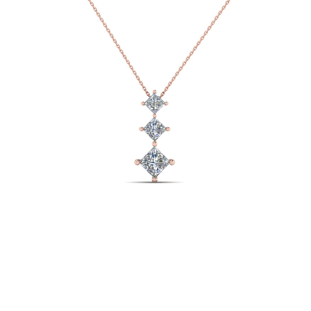 Graduated 3 Princess Diamond Drop Pendant Necklace In 14K Rose Gold