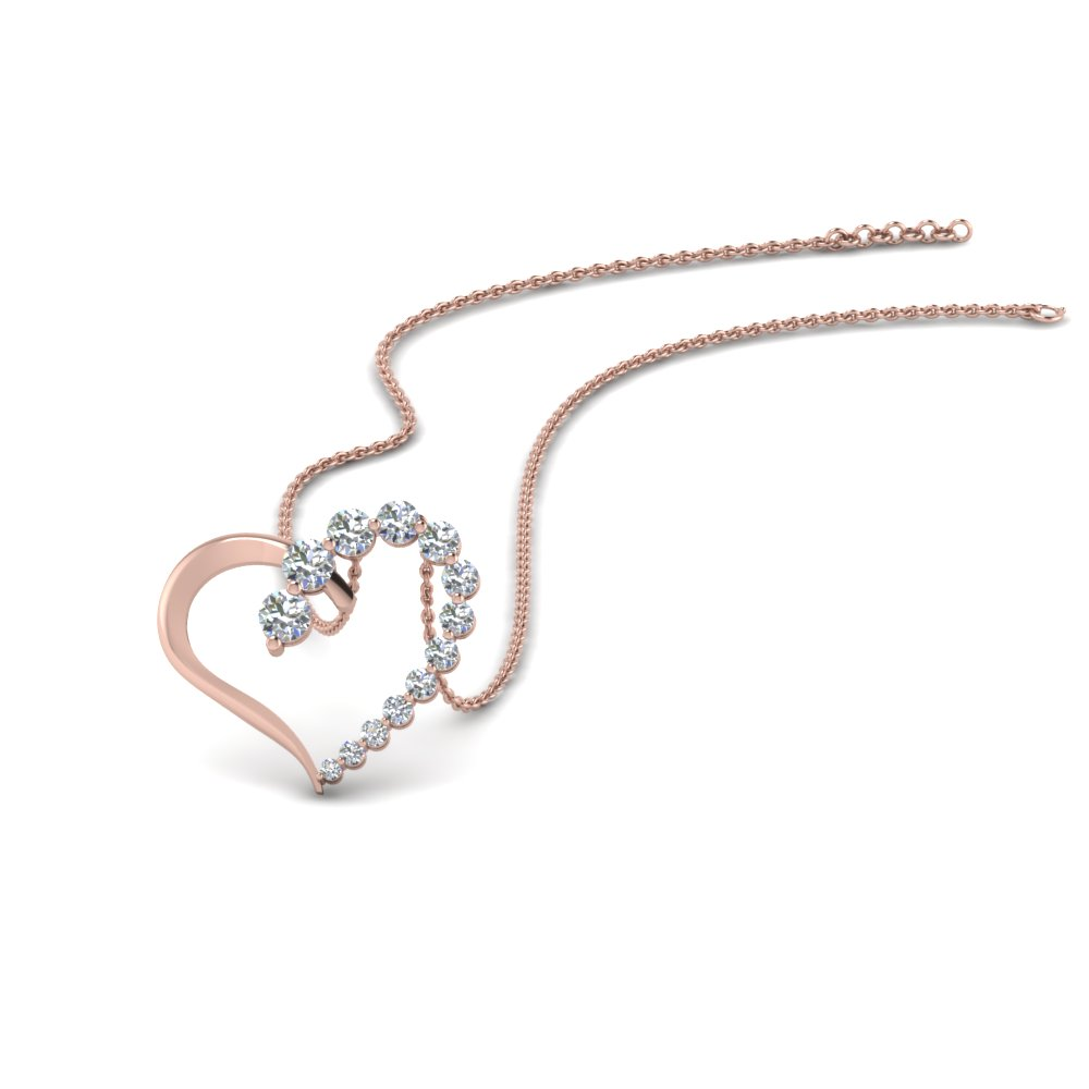 Graduated Diamond Open Heart Pendant