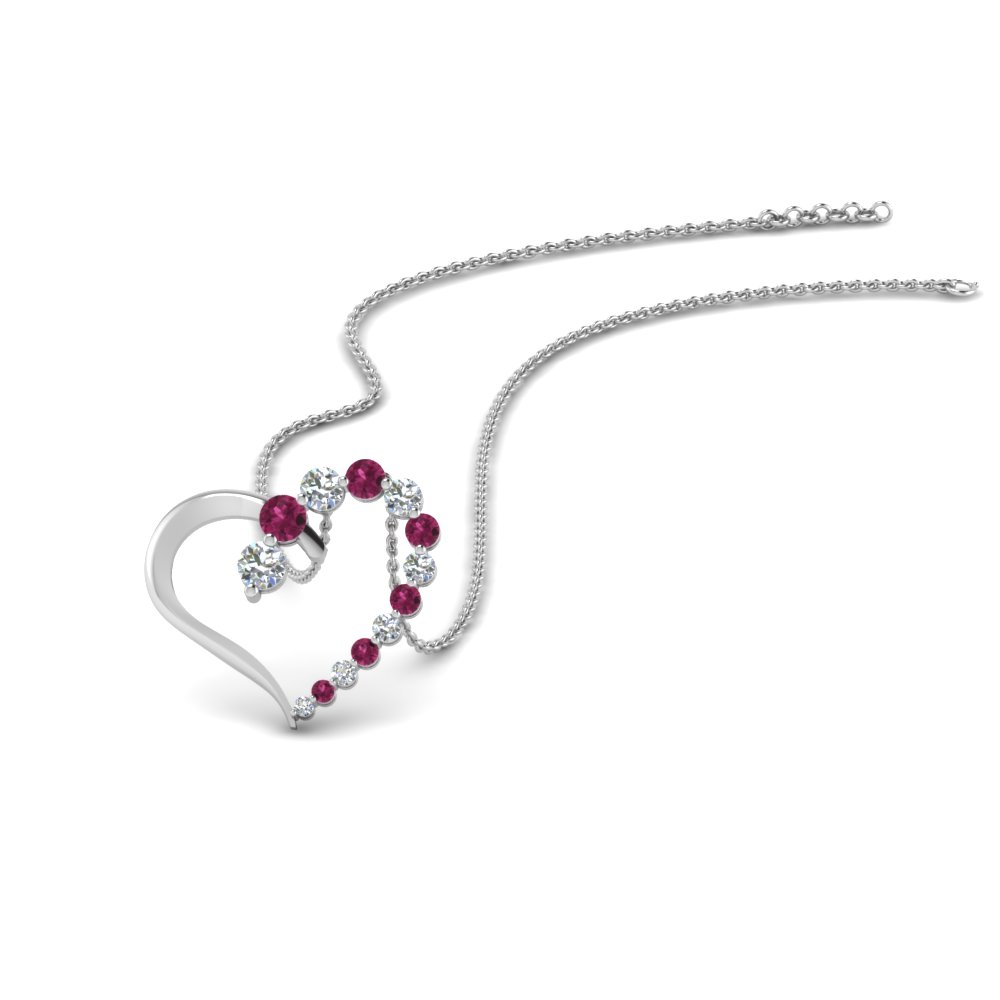Graduated Pink Sapphire Heart Pendant
