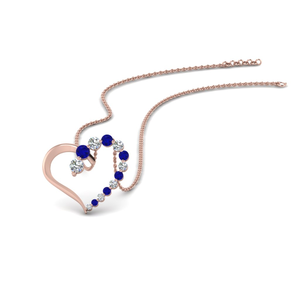 graduated diamond open heart pendant with sapphire in FDHPD383GSABL NL RG