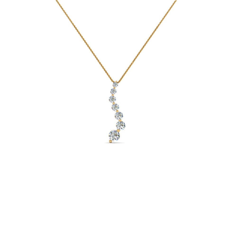 graduated diamond pendant for women in 14K yellow gold FDPD1704 NL YG