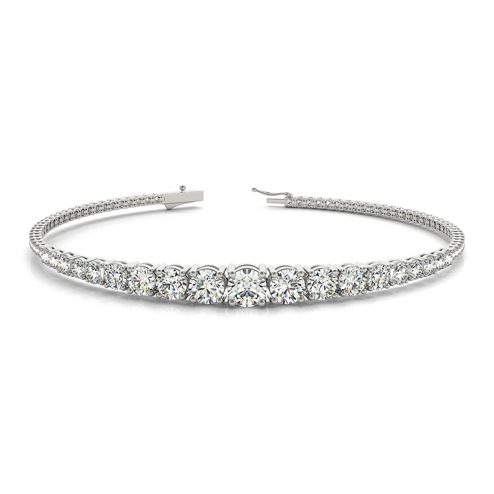 14k White Gold Graduated Diamond Tennis Bracelet