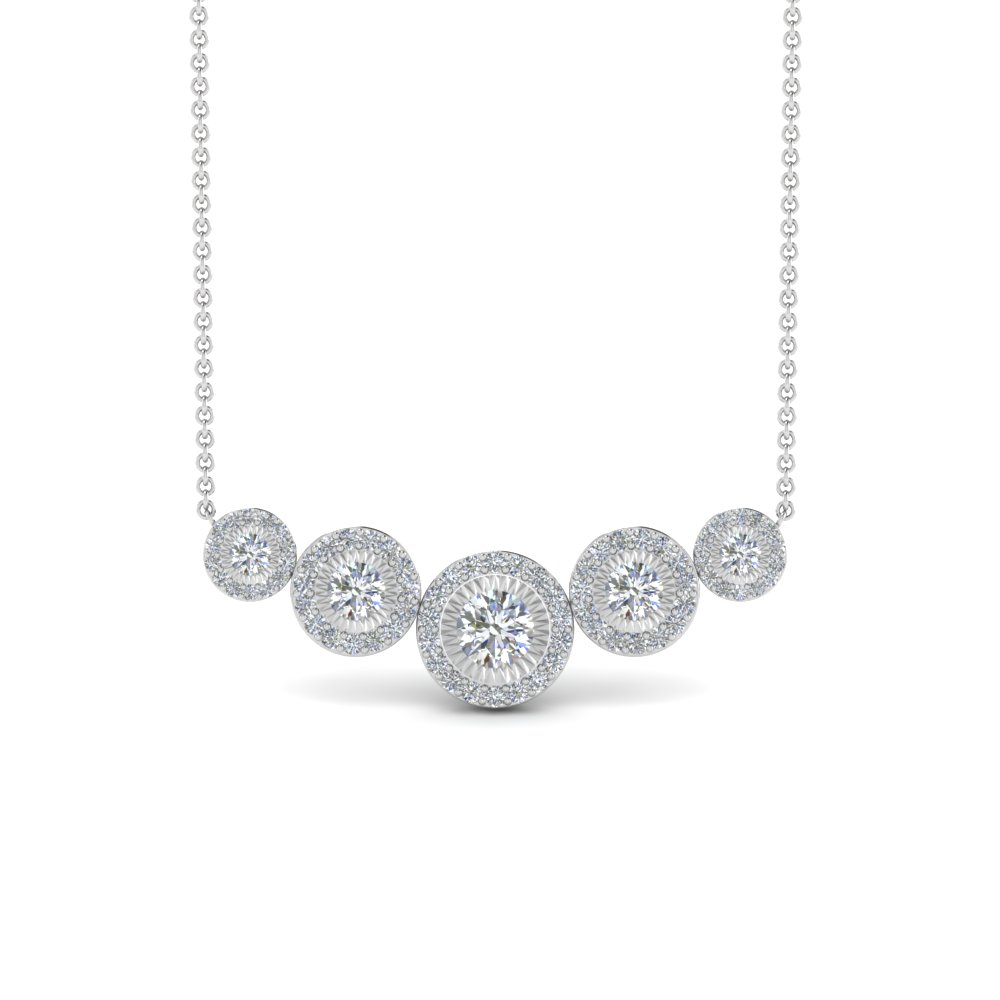 Graduated Illusion Set Halo Diamond Necklace