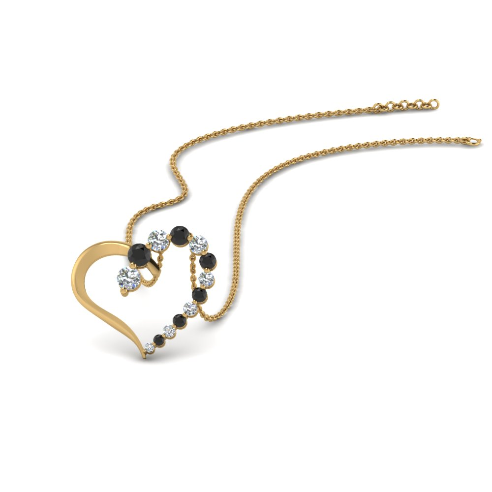 graduated open heart pendant with black diamond in FDHPD383GBLACK NL YG