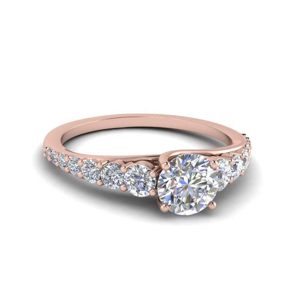 Round Cut Rose Gold Side Stone Rings