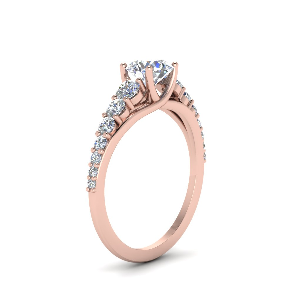 Graduated Diamond Wedding Low Set Ring
