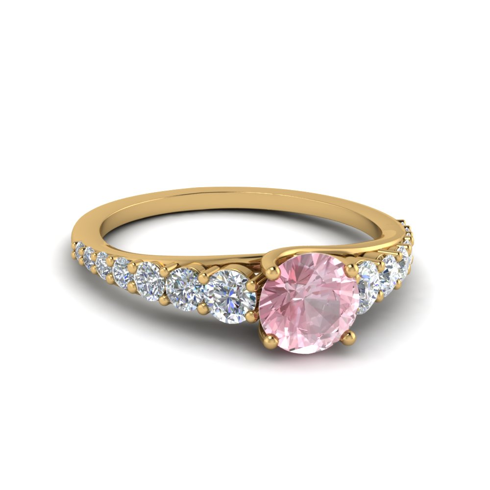 graduated morganite engagement ring in 14K yellow gold FDENR9450RORGMO NL YG