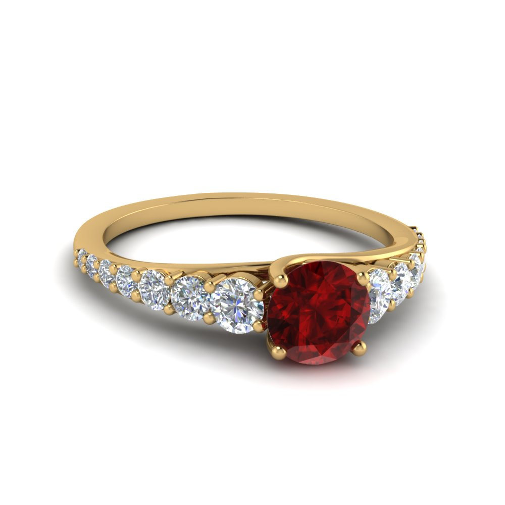 Graduated Round Ruby Ring
